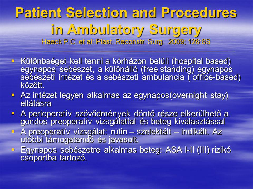 Patient Selection and Procedures in Ambulatory Surgery Haeck P. C