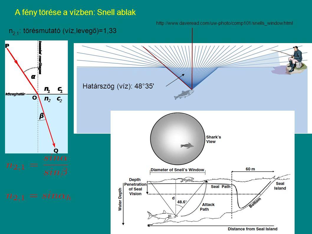 A fény törése a vízben: Snell ablak