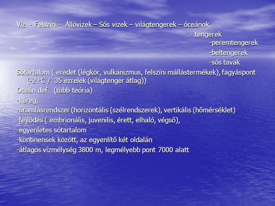 Víz - Felszíni - Állóvizek – Sós vizek – világtengerek – óceánok