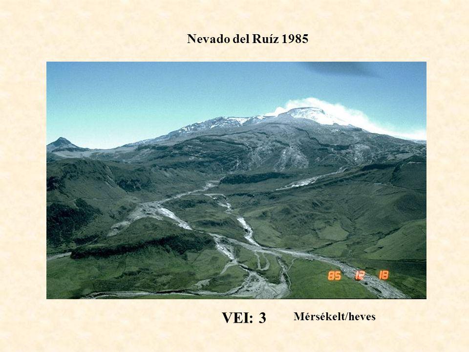 Nevado del Ruíz 1985 VEI: 3 Mérsékelt/heves
