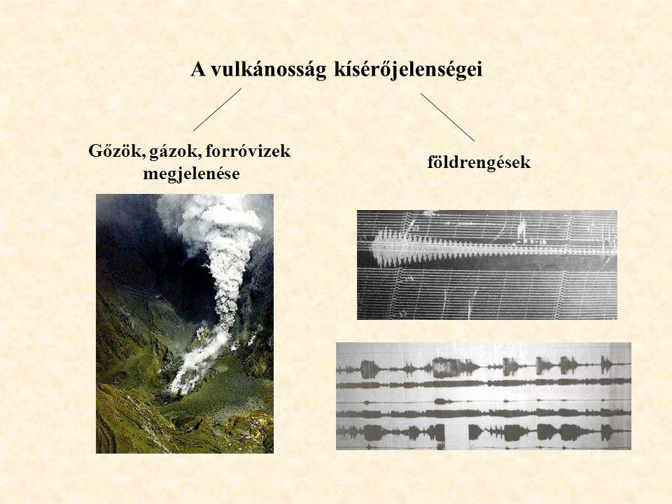 A vulkánosság kísérőjelenségei Gőzök, gázok, forróvizek