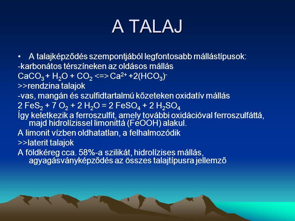 A TALAJ A talajképződés szempontjából legfontosabb mállástípusok: