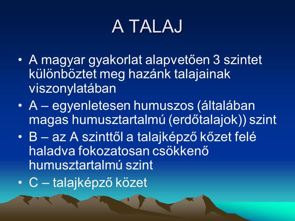 A TALAJ A magyar gyakorlat alapvetően 3 szintet különböztet meg hazánk talajainak viszonylatában.