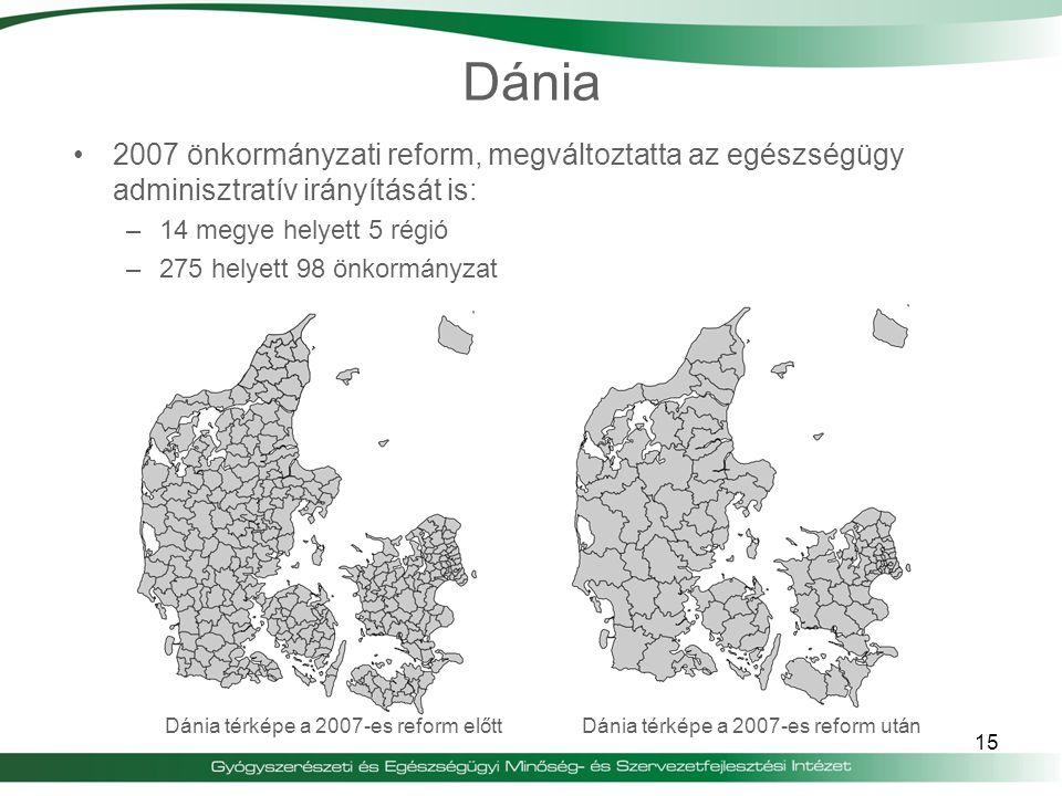 Dánia 2007 önkormányzati reform, megváltoztatta az egészségügy adminisztratív irányítását is: 14 megye helyett 5 régió.