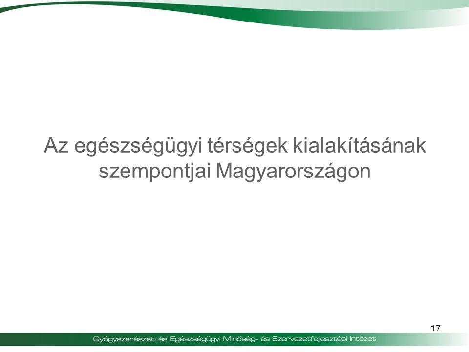 Az egészségügyi térségek kialakításának szempontjai Magyarországon