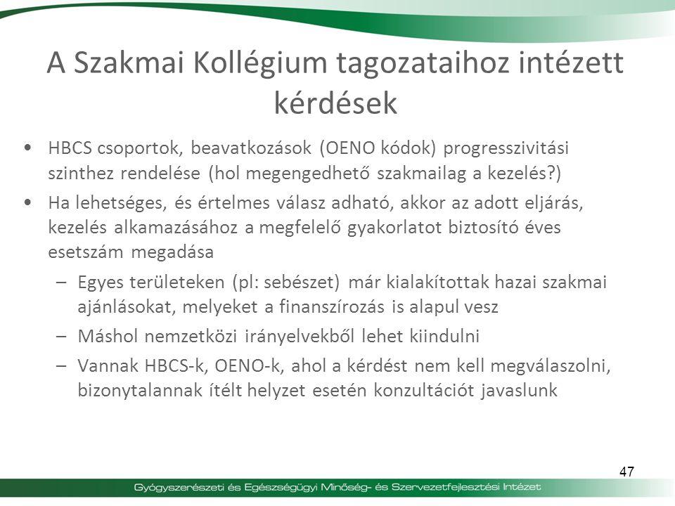 A Szakmai Kollégium tagozataihoz intézett kérdések