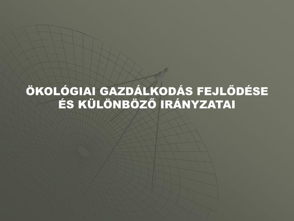 ÖKOLÓGIAI GAZDÁLKODÁS FEJLŐDÉSE ÉS KÜLÖNBÖZŐ IRÁNYZATAI