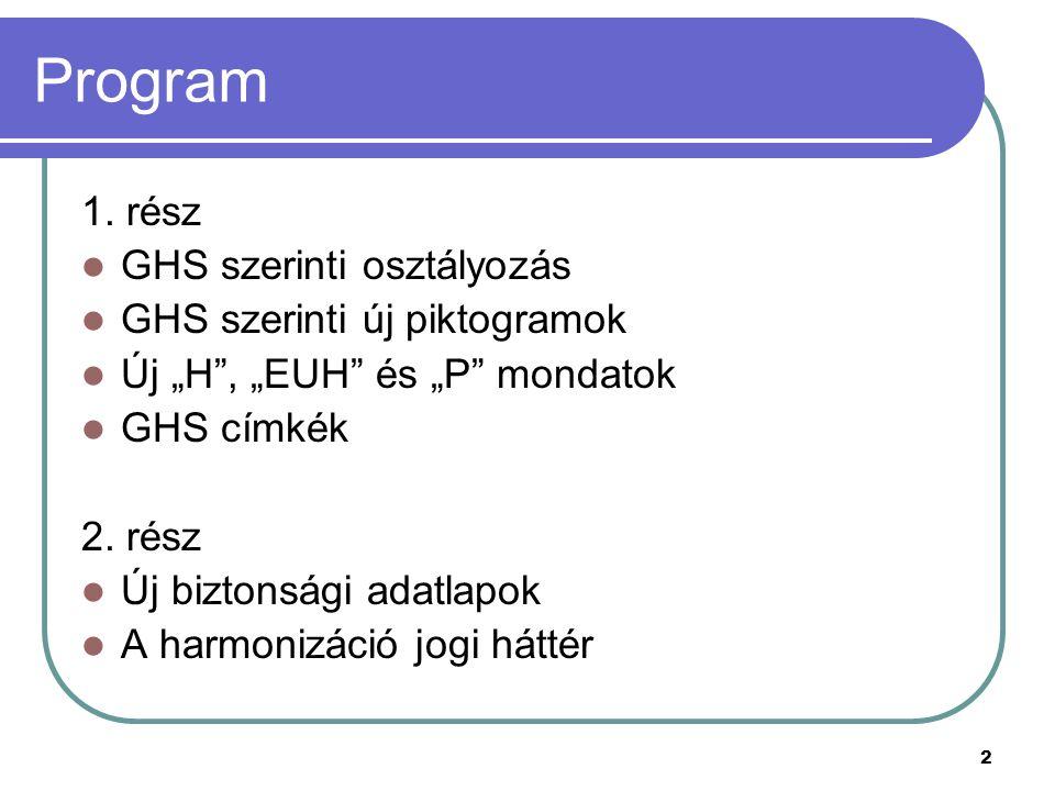 Program 1. rész GHS szerinti osztályozás GHS szerinti új piktogramok
