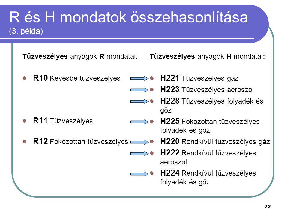 R és H mondatok összehasonlítása (3. példa)