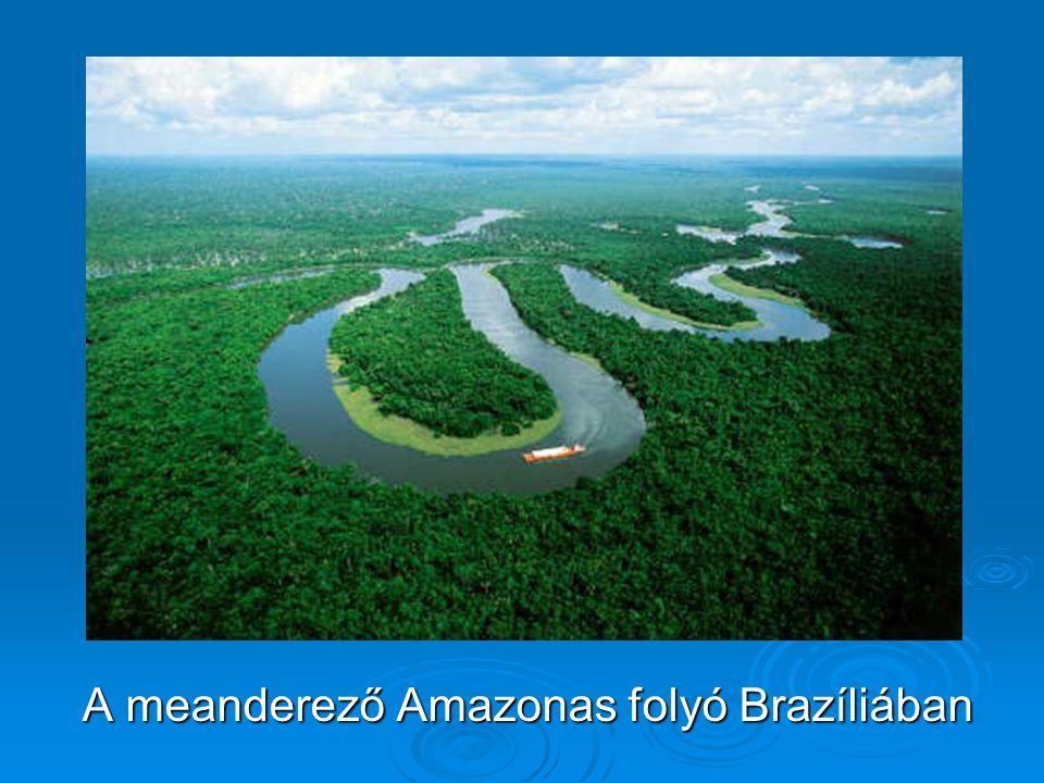 A meanderező Amazonas folyó Brazíliában