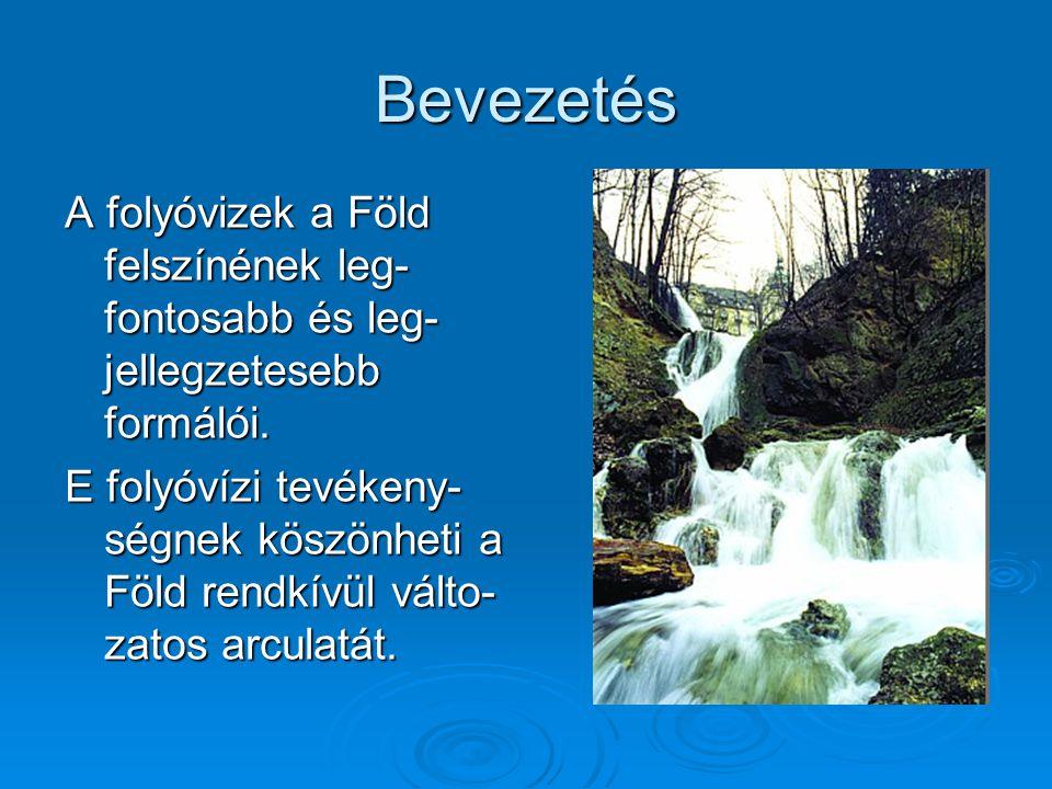 Bevezetés A folyóvizek a Föld felszínének leg- fontosabb és leg-jellegzetesebb formálói.