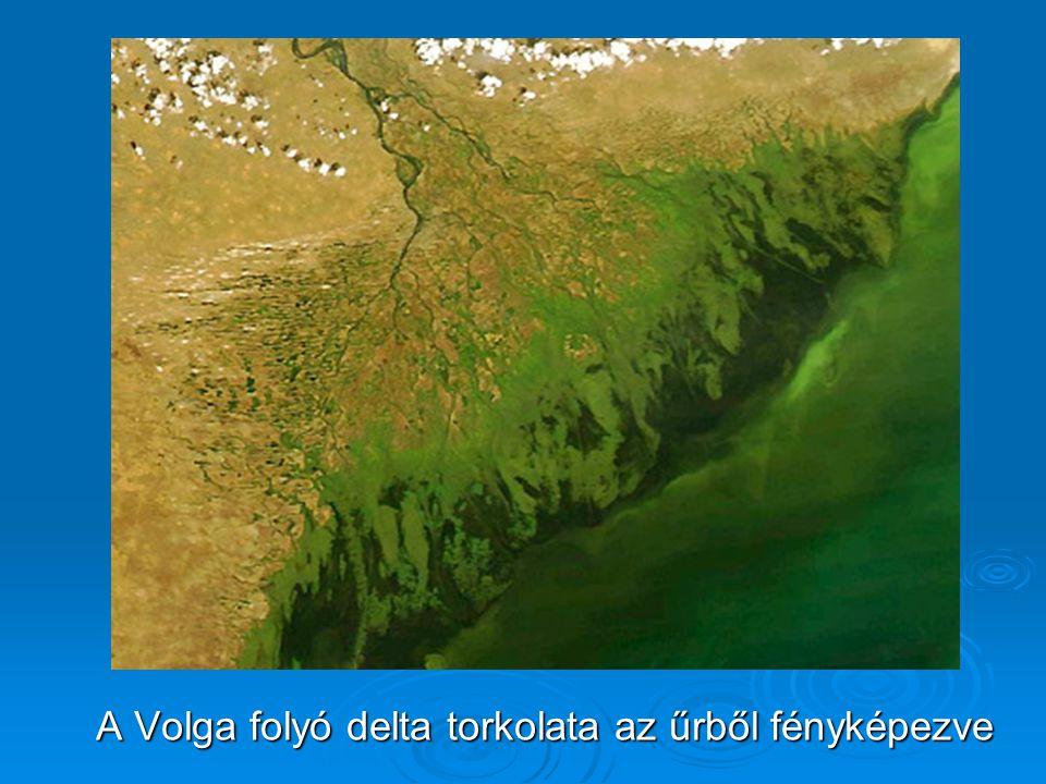 A Volga folyó delta torkolata az űrből fényképezve