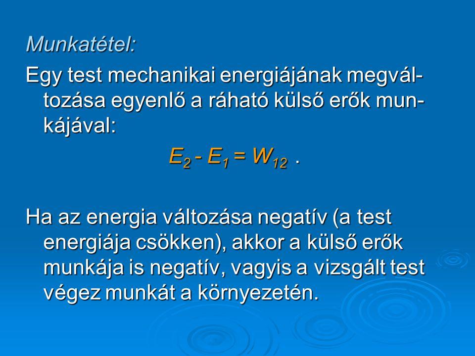 Munkatétel: Egy test mechanikai energiájának megvál-tozása egyenlő a ráható külső erők mun-kájával: