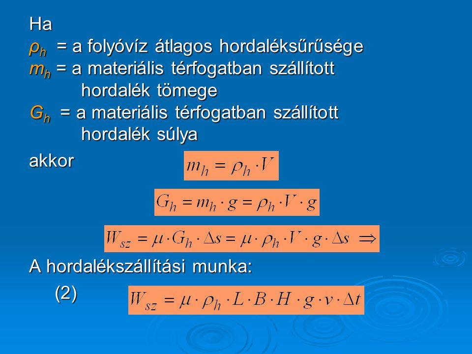 Ha ρh = a folyóvíz átlagos hordaléksűrűsége. mh = a materiális térfogatban szállított. hordalék tömege.
