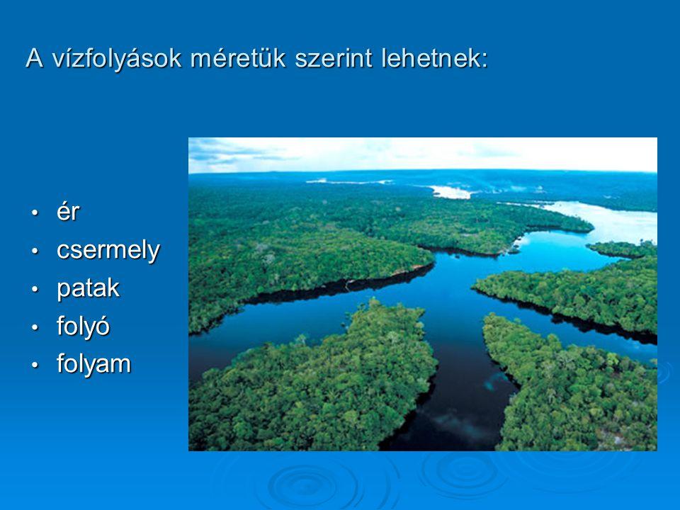 A vízfolyások méretük szerint lehetnek: