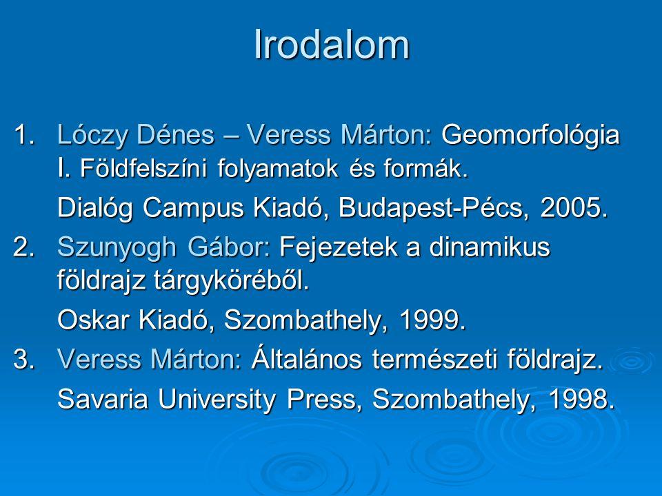 Irodalom Lóczy Dénes – Veress Márton: Geomorfológia I. Földfelszíni folyamatok és formák. Dialóg Campus Kiadó, Budapest-Pécs, 2005.