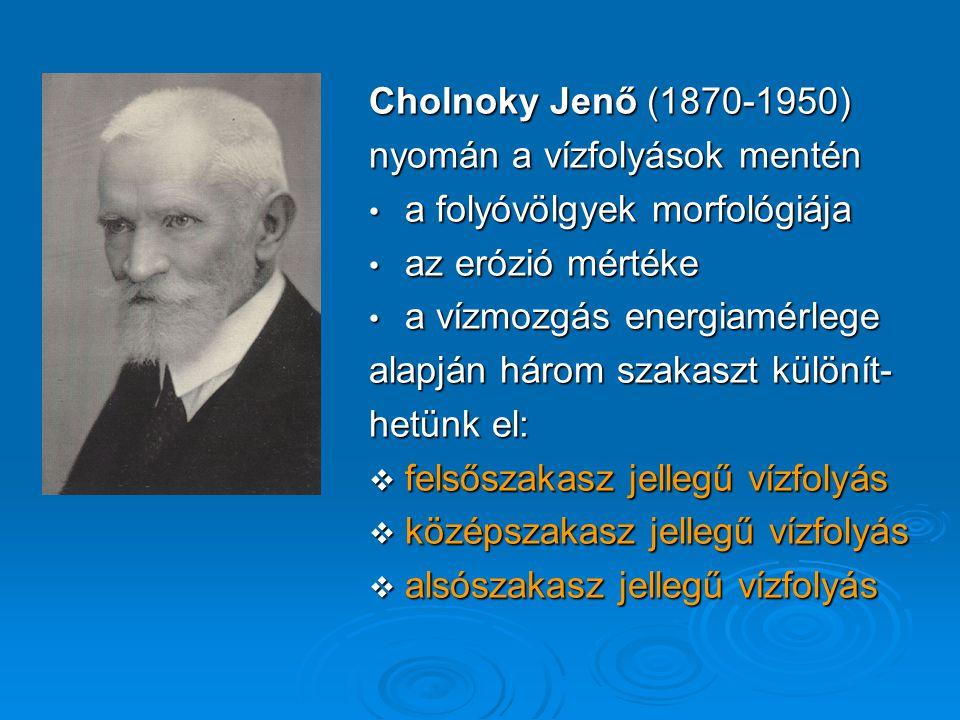 Cholnoky Jenő (1870-1950) nyomán a vízfolyások mentén. a folyóvölgyek morfológiája. az erózió mértéke.
