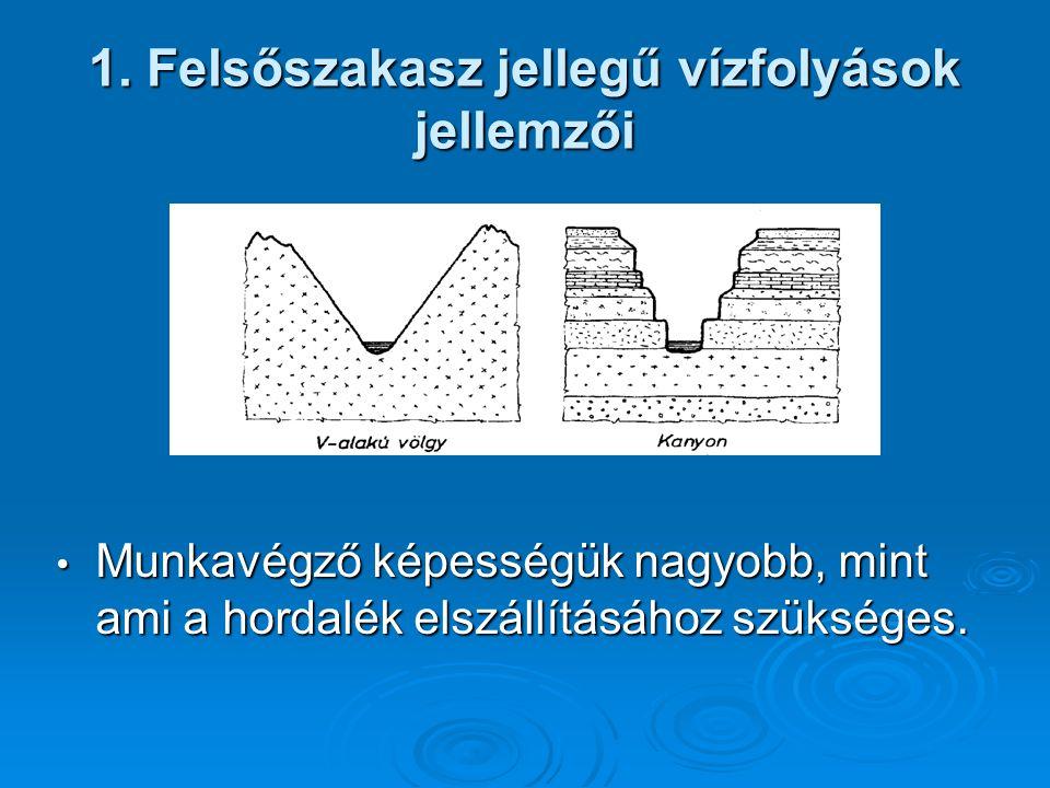 1. Felsőszakasz jellegű vízfolyások jellemzői