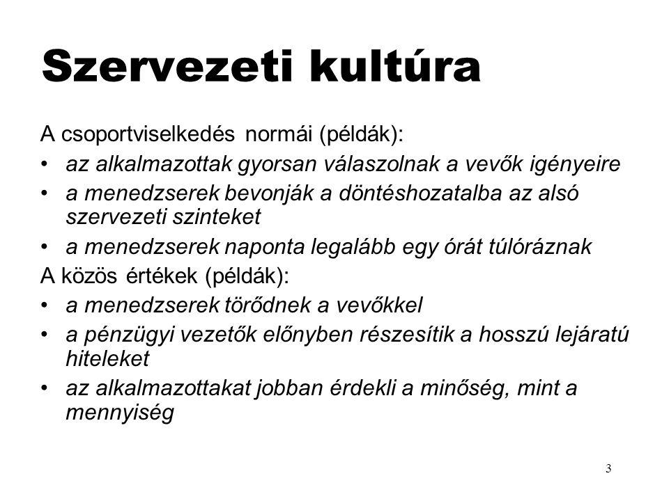 Szervezeti kultúra A csoportviselkedés normái (példák):