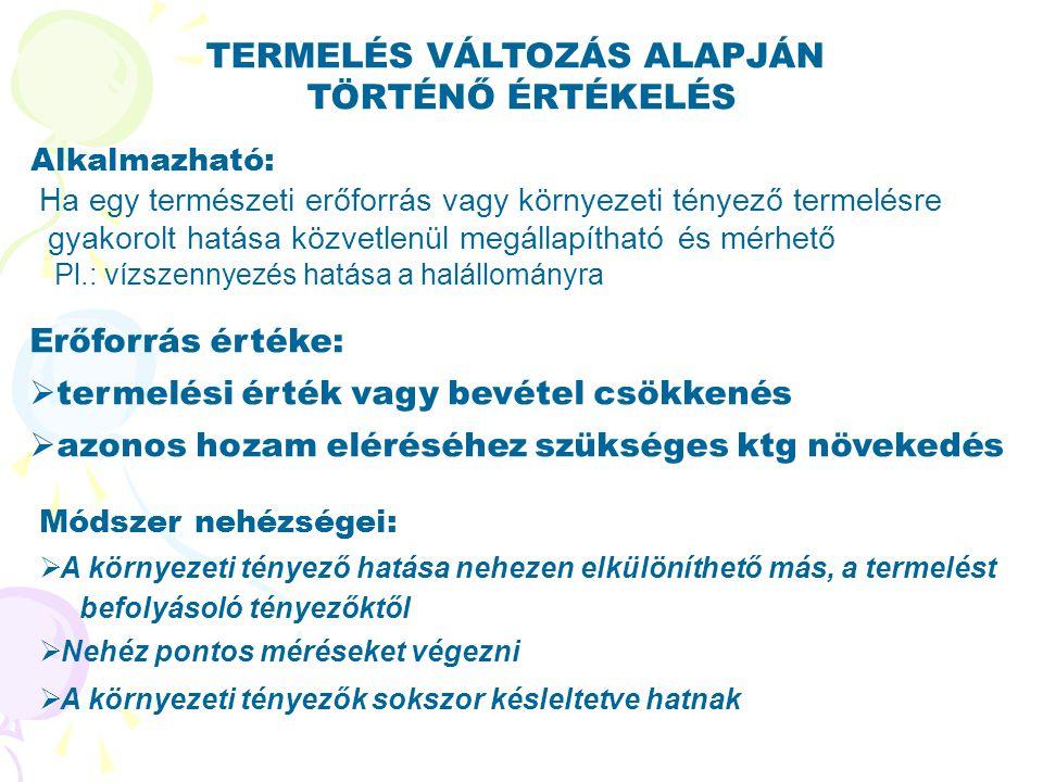 TERMELÉS VÁLTOZÁS ALAPJÁN