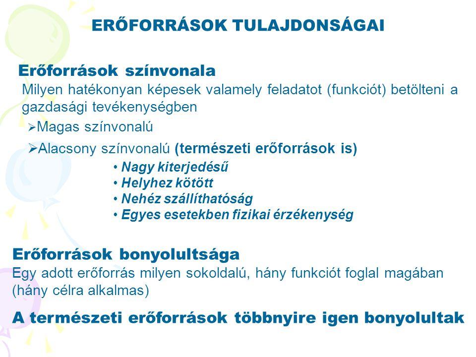ERŐFORRÁSOK TULAJDONSÁGAI