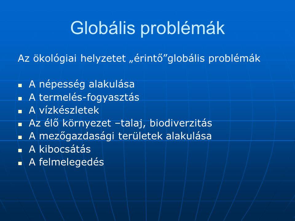 """Globális problémák Az ökológiai helyzetet """"érintő globális problémák"""