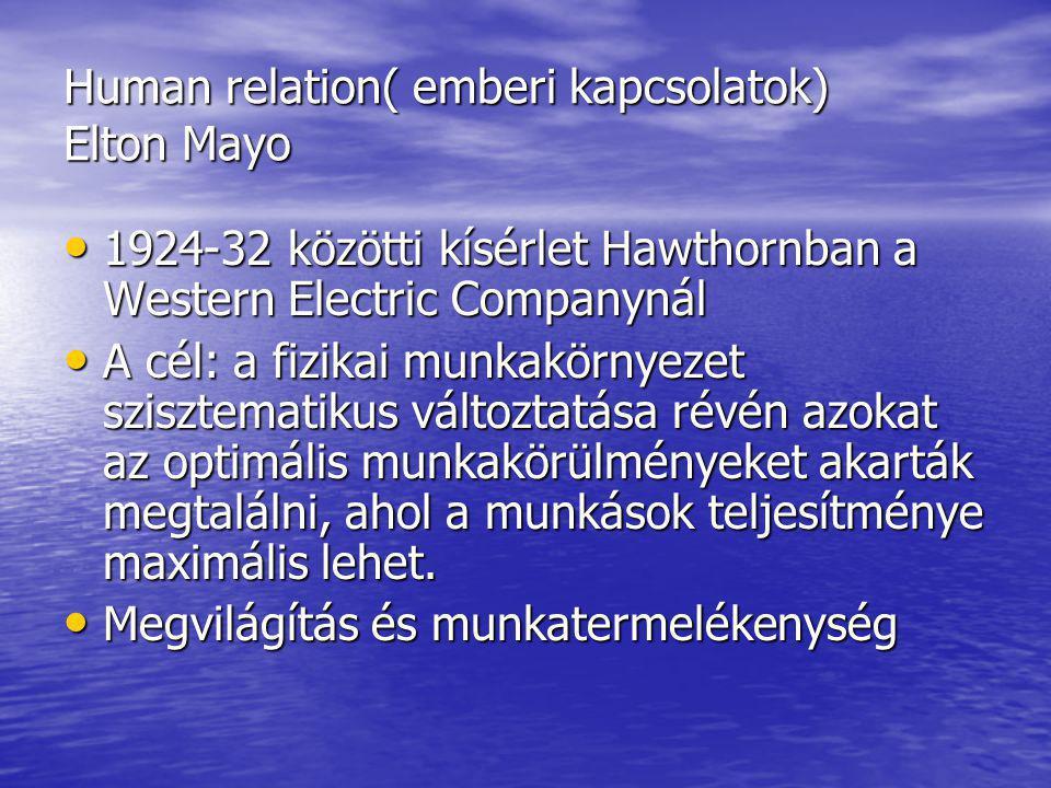 Human relation( emberi kapcsolatok) Elton Mayo
