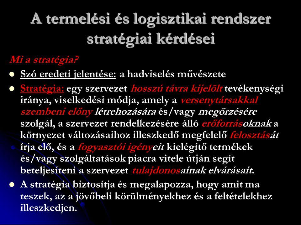 A termelési és logisztikai rendszer stratégiai kérdései