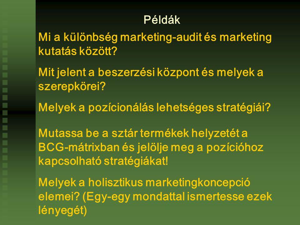 Példák Mi a különbség marketing-audit és marketing kutatás között Mit jelent a beszerzési központ és melyek a szerepkörei