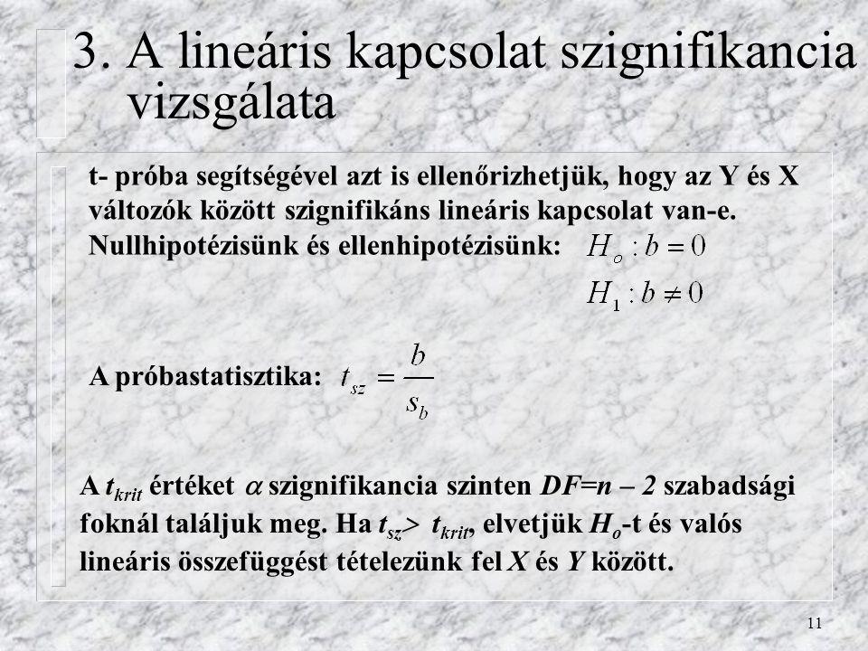 3. A lineáris kapcsolat szignifikancia vizsgálata