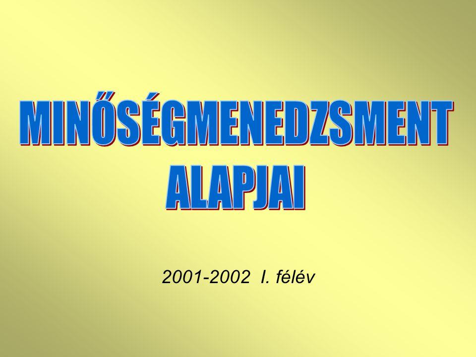 MINŐSÉGMENEDZSMENT ALAPJAI 2001-2002 I. félév