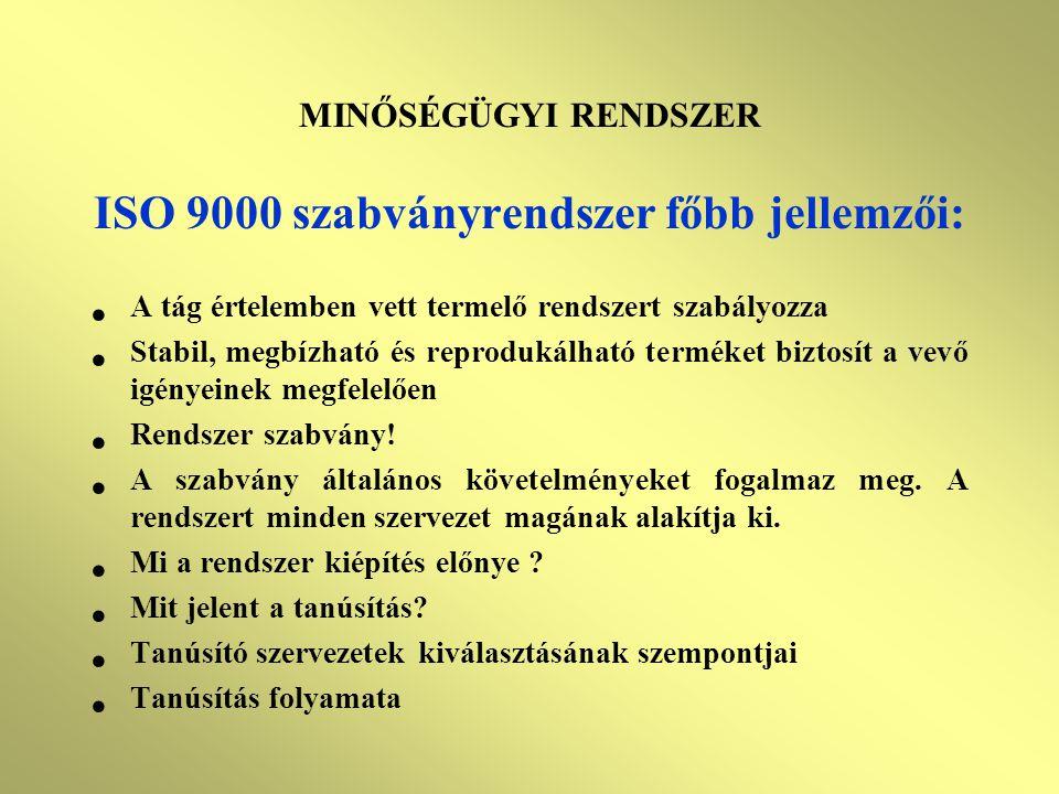 ISO 9000 szabványrendszer főbb jellemzői: