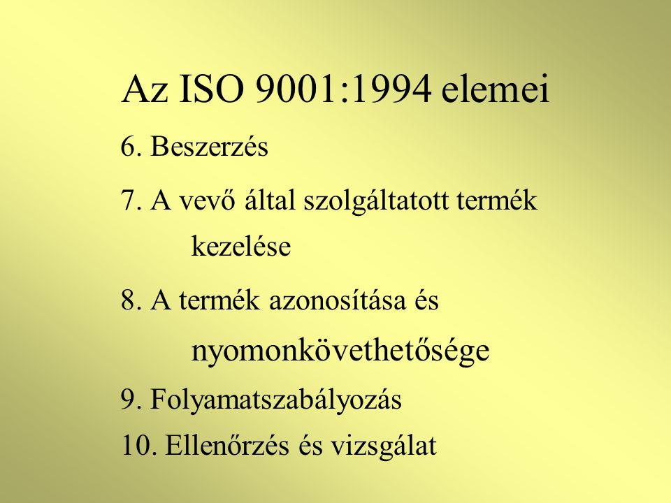 Az ISO 9001:1994 elemei 6. Beszerzés