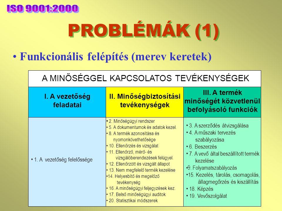 PROBLÉMÁK (1) ISO 9001:2000 Funkcionális felépítés (merev keretek)