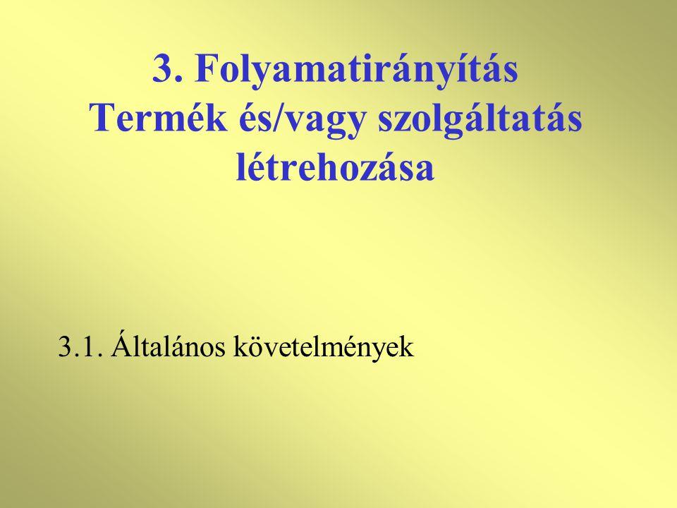 3. Folyamatirányítás Termék és/vagy szolgáltatás létrehozása
