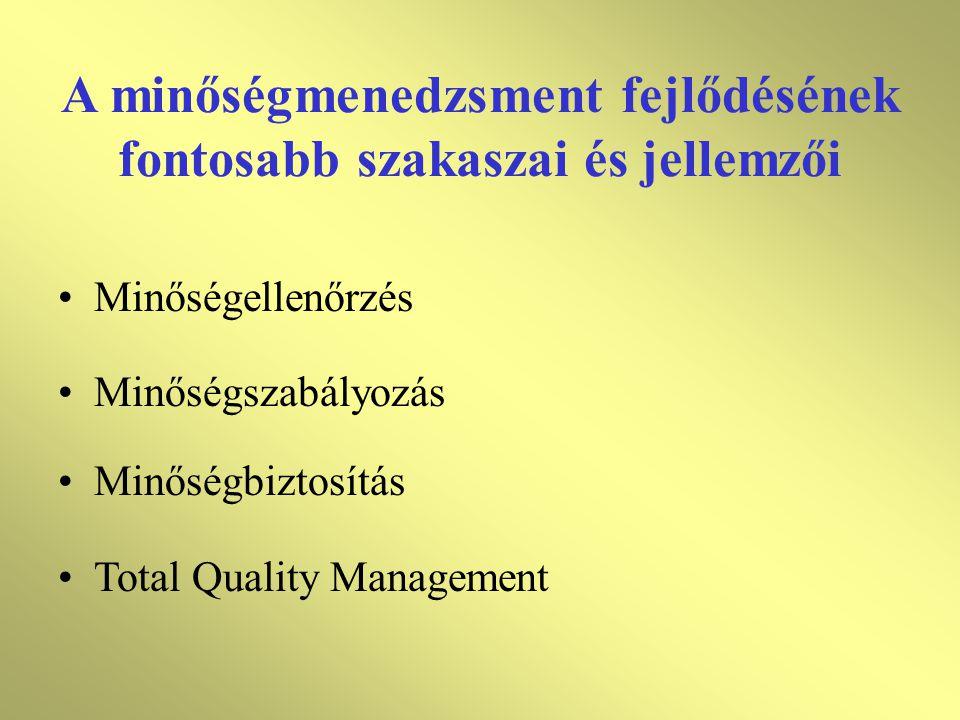 A minőségmenedzsment fejlődésének fontosabb szakaszai és jellemzői