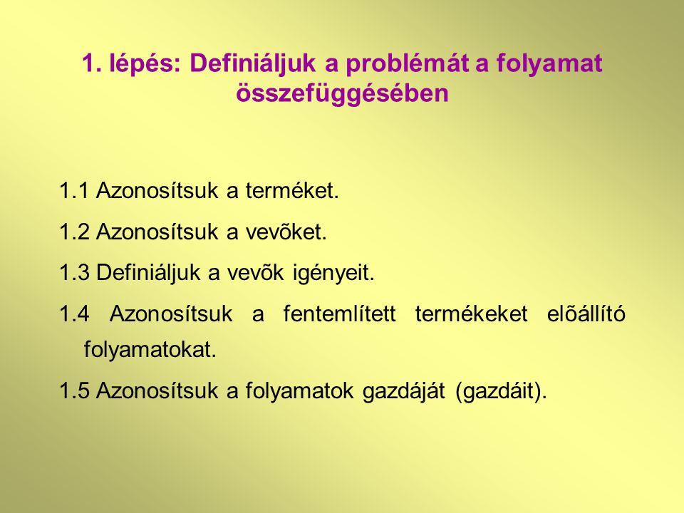1. lépés: Definiáljuk a problémát a folyamat összefüggésében