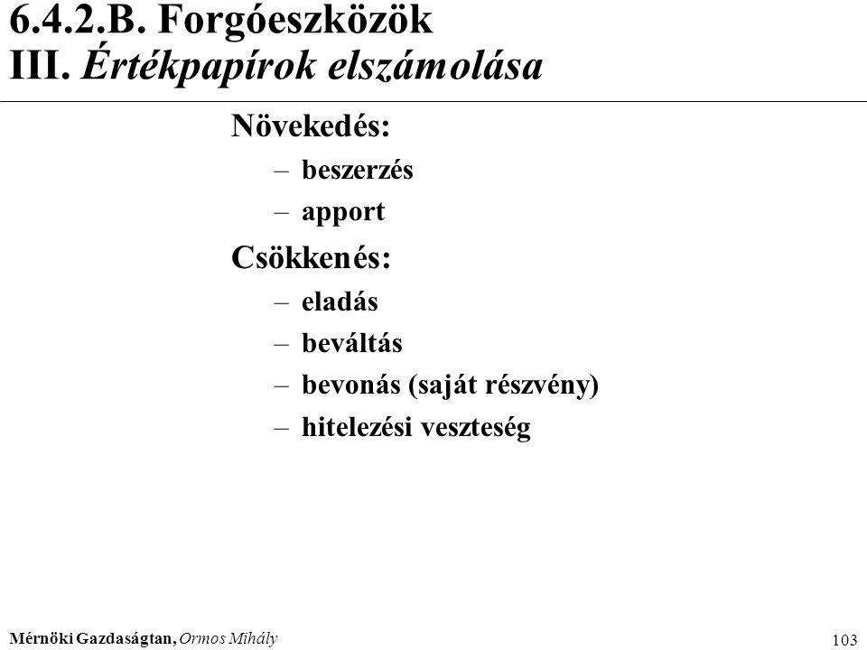 6.4.2.B. Forgóeszközök III. Értékpapírok elszámolása