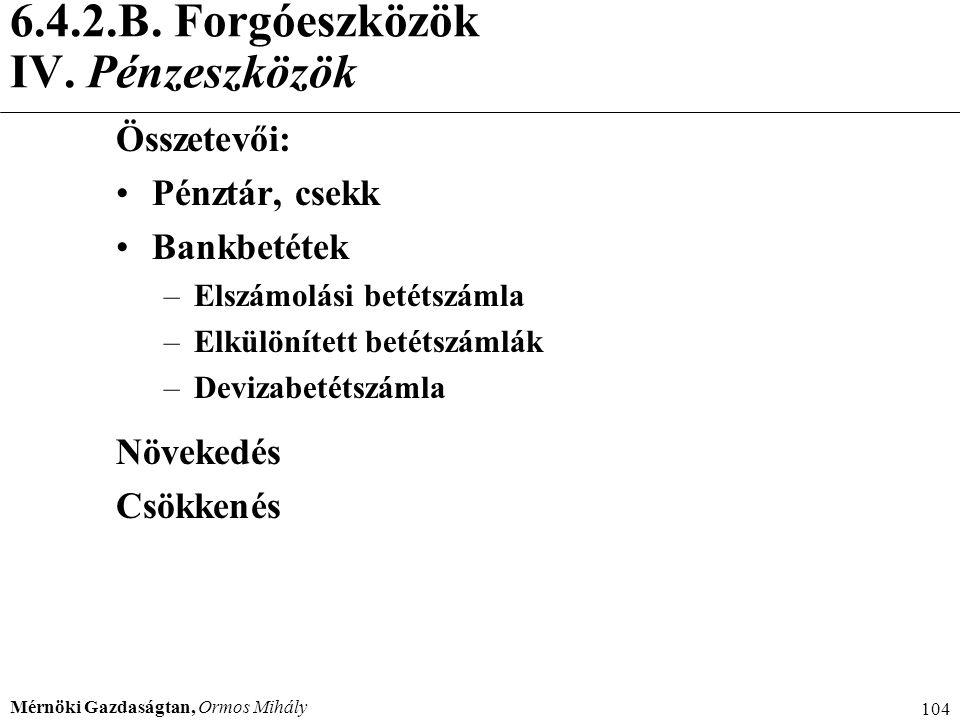 6.4.2.B. Forgóeszközök IV. Pénzeszközök