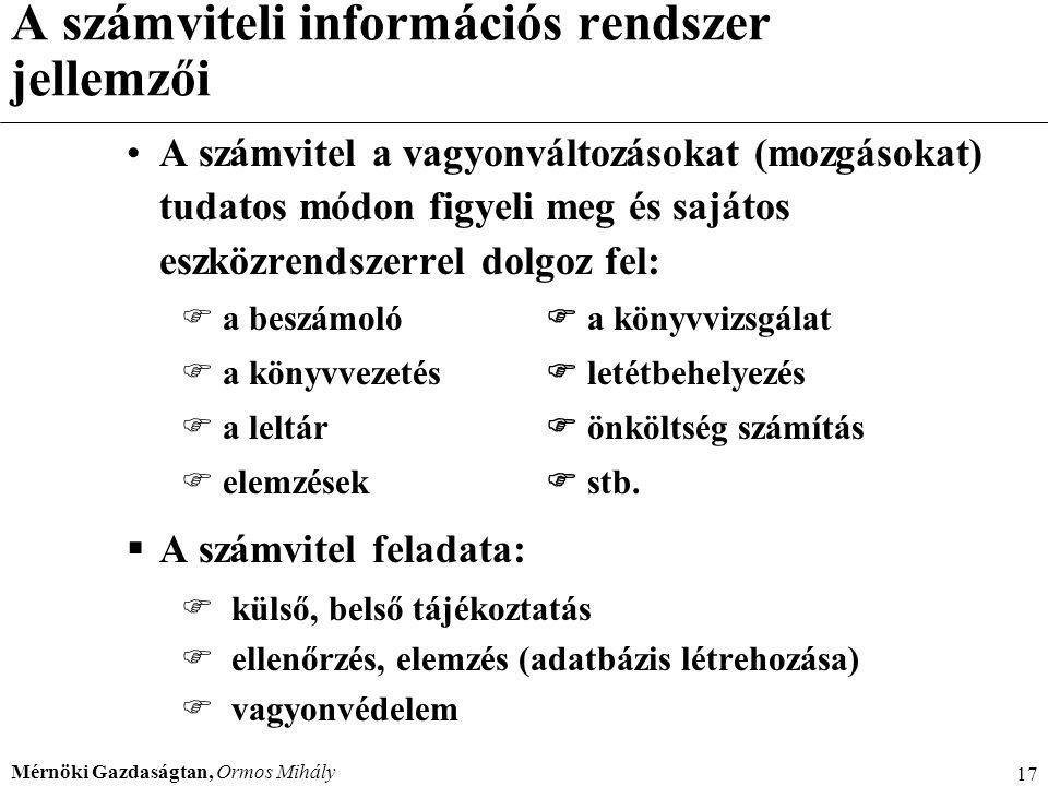 A számviteli információs rendszer jellemzői