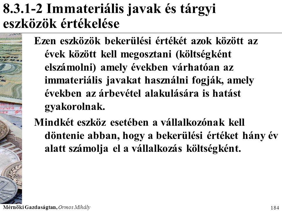 8.3.1-2 Immateriális javak és tárgyi eszközök értékelése
