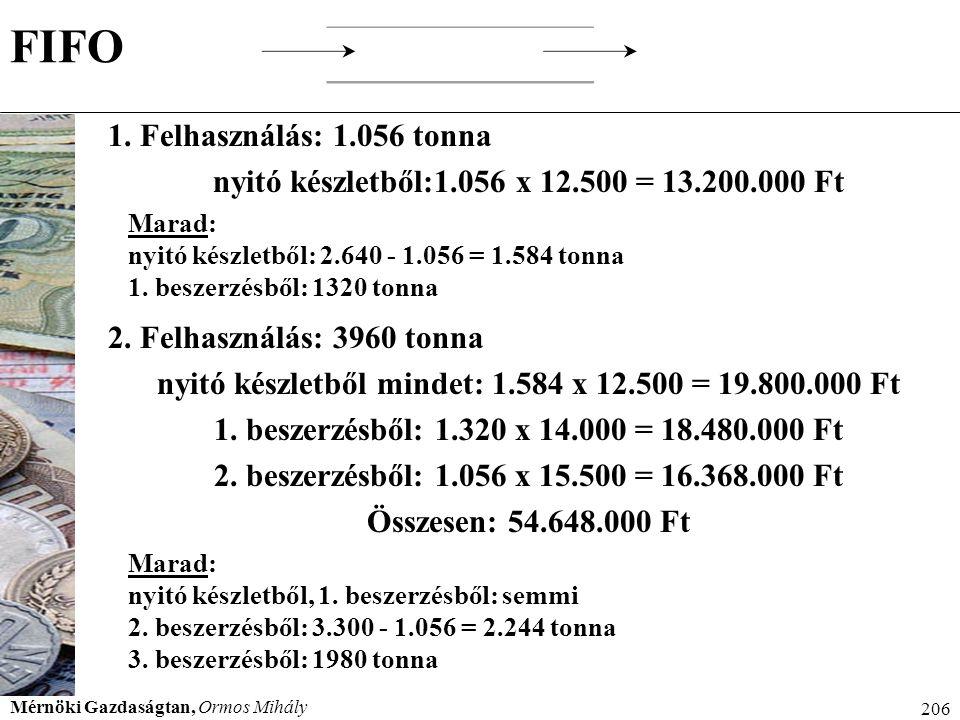FIFO 1. Felhasználás: 1.056 tonna