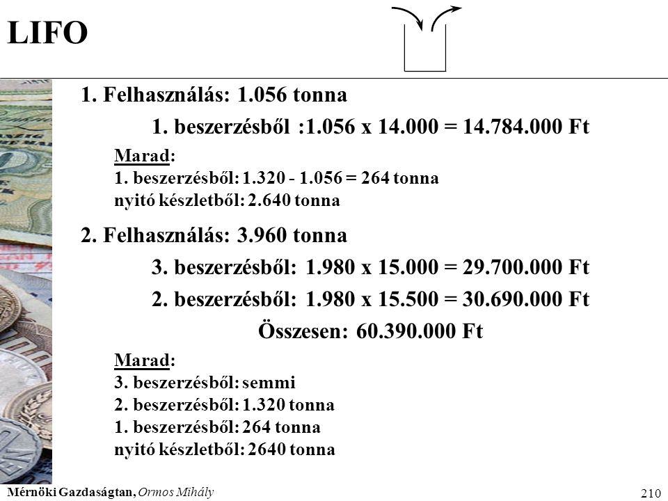 LIFO 1. Felhasználás: 1.056 tonna