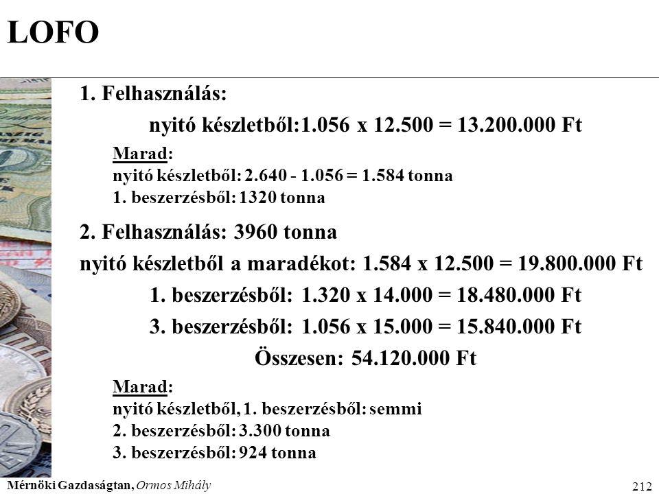 nyitó készletből:1.056 x 12.500 = 13.200.000 Ft