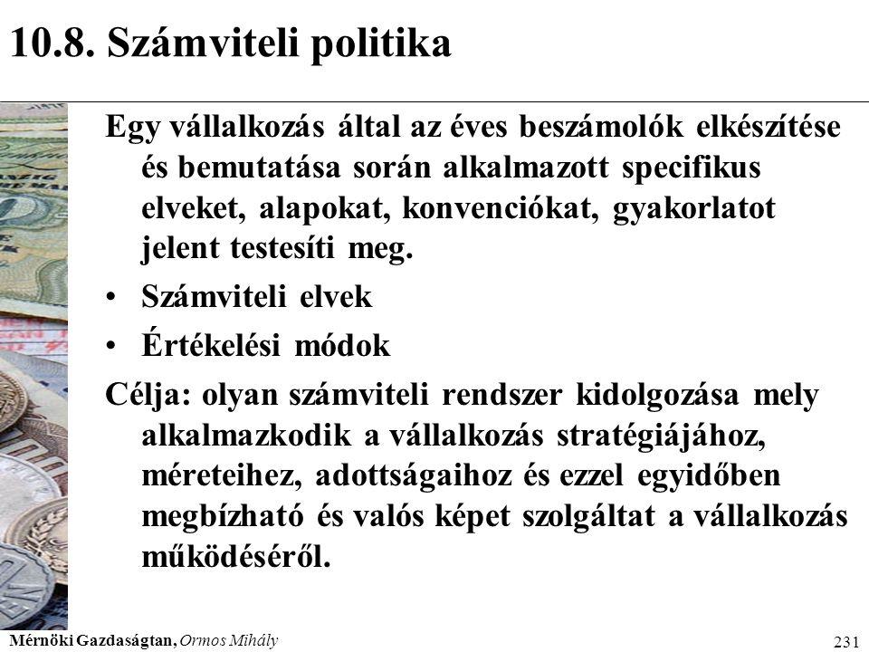 10.8. Számviteli politika Menedzser 2000.