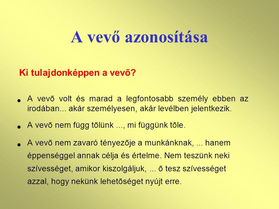 A vevő azonosítása Ki tulajdonképpen a vevõ