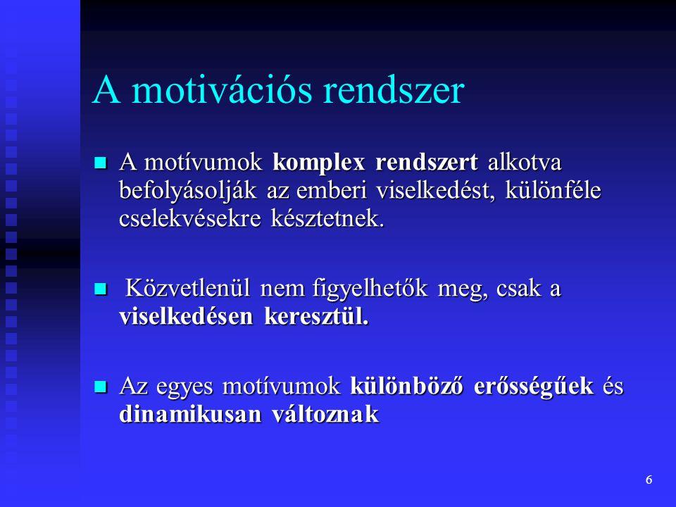 A motivációs rendszer A motívumok komplex rendszert alkotva befolyásolják az emberi viselkedést, különféle cselekvésekre késztetnek.