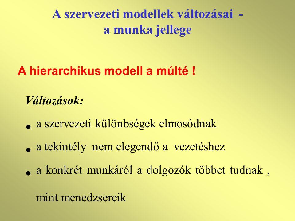 A szervezeti modellek változásai - a munka jellege