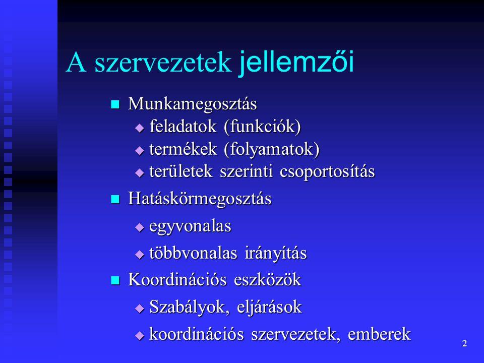 A szervezetek jellemzői