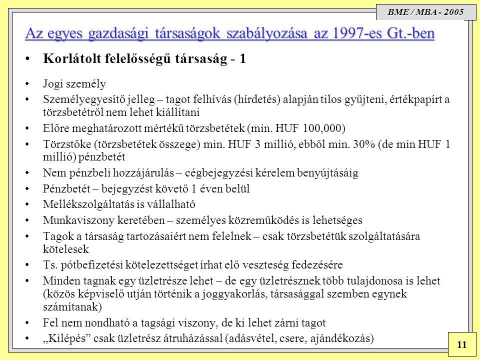 Az egyes gazdasági társaságok szabályozása az 1997-es Gt.-ben